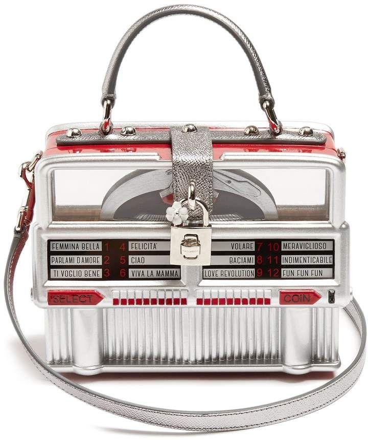 4dd8235831f6 DOLCE   GABBANA Dolce Box leather-trimmed jukebox bag