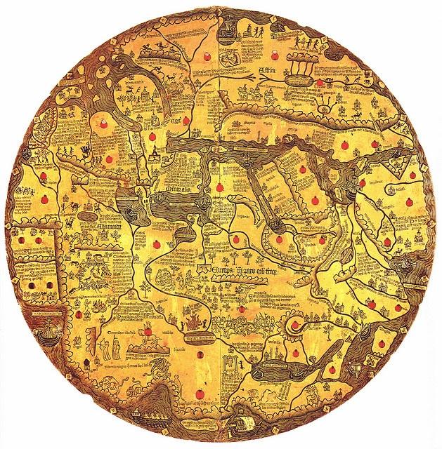 Mappa mundi Borgia or Tavola di Velletri    The map is oriented with south at the top.  Ms. Borg. lat. XVI - first half of the 15th century [c. 1430]  Rome BAV S-181 mappa mundi Borgia