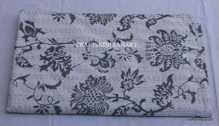 New Indian Kantha Quilt Cotton Reversible Blanket Gray Bedspread Queen Bed Cover | eBay