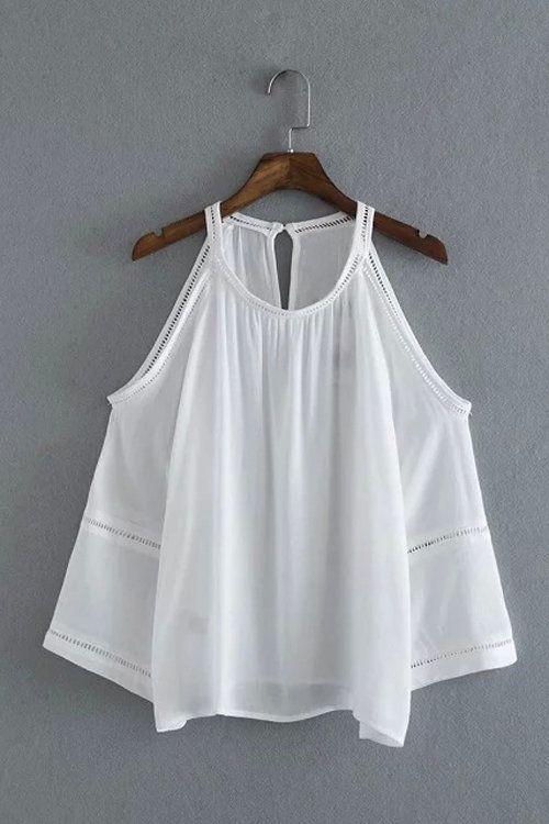 Nueva Escaleras rejilla blanca de costura sin tirantes de la camisa - US$19.95 -YOINS