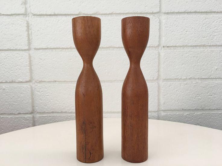 Mid-Century Danish Teak Wood Candlesticks  #etsy #teak #vintage #midcentury