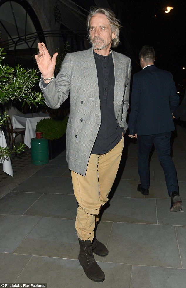 Jeremy Irons leaves Brown's restaurant in Mayfair