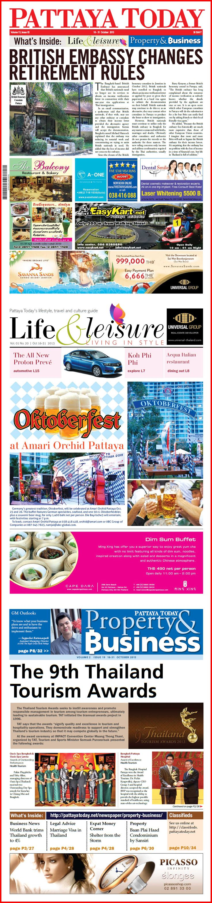 Travelling to Pattaya this weekend – keep yourself abreast with the latest news by reading PATTAYA TODAY NEWSPAPER – A fortnightly English language publication that is packed full of timely news, social activities as well as the latest updates on the property market, which is sure to keep you well informed of the latest happenings in and around Pattaya and Thailand.  Get your latest October 16-31 copy today
