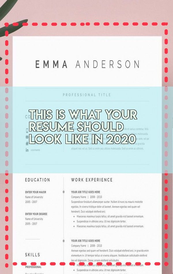This Is What Your Resume Should Look Like In 2020 In 2020 Resume Resume Design Work Experience