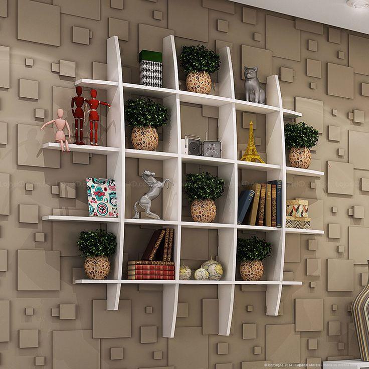 Sala de Estar Modulada com Módulo Nicho Simples 1 Porta Basculante, Módulo Duplo/Rack para TV Inventa e Prateleira Branco - Caaza   Lojas KD