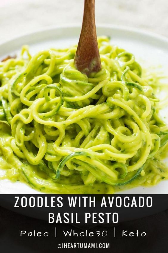 Zucchini Pasta Shrimp With Avocado Basil Pesto Recipe Stuffed Avocado Healthy Zucchini Pasta Vegan Zucchini