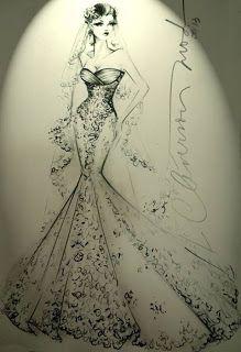 DESENHOS DE MODA: Vestido de noiva estilo sereia - Desenho de moda
