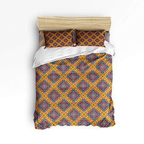 Wazzit Warm Color Bedding 4 Piece Duvet Cover Set Abstract Cross Geometric With Zipper Closure Matching 2 Pillow Shams Twin Size