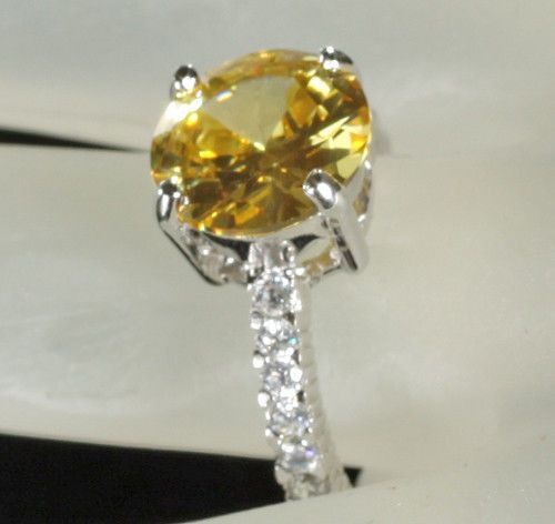 Rhodium Bonded to .925 Sterling Silver Canary Yellow CZ Engagement Ring  7 #bgb #Engagement