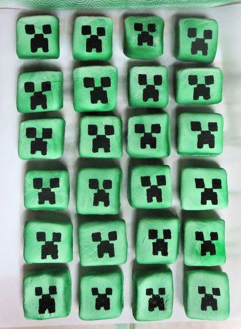 Square Minecraft Creeper Marshmallows