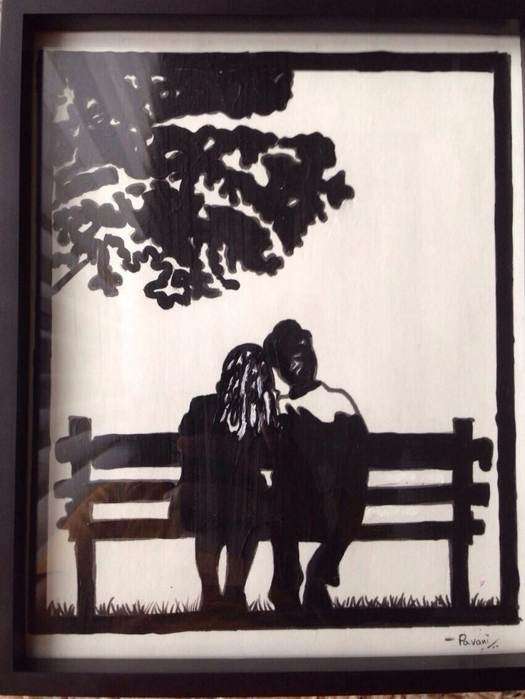 Couple Sitting On Bench Silhoutte Paintings Pinterest