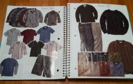 "The Notebook That Built My Novel ""Wardrobe pages.  I went through magazines, catalogs, and clothing store ads to look for clothes my characters might wear.  I cut out an entire wardrobe for all the main characters and pasted it into the notebook.  Each character got a spread and it really helped shape their personalities in a visual sense."""