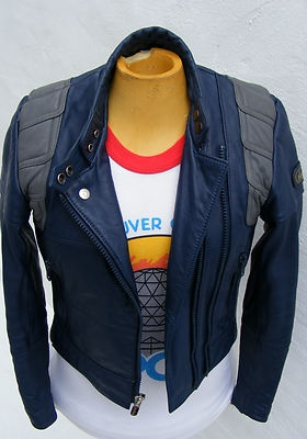 vintage leather blue biker cafe racer jacket: Jacket, Leather Blue, Nina Garcia, Oc Ideas, Manic Pixie, Pixie Closet, Blue Biker, Biker Cafe, Cafe Racers