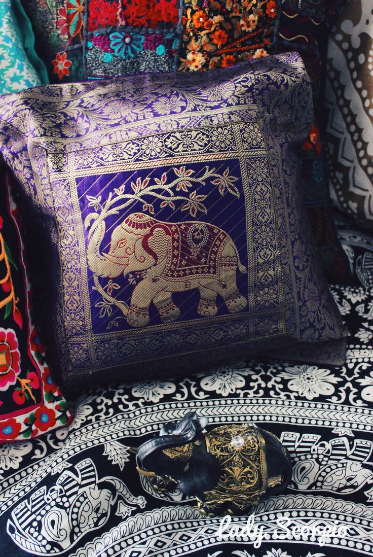 Bohemian Bedroom Decor | Elephant Silk Brocade Pillows by Lady Scorpio | Shop Now LadyScorpio101.com | @LadyScorpio101 | Photography by Stephanie Renfro @StephRenfro