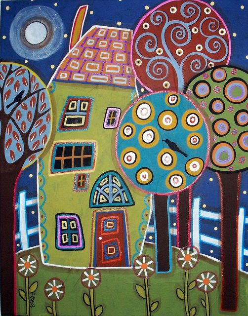 Green House by karlagerard, abstract modern folk art painting.