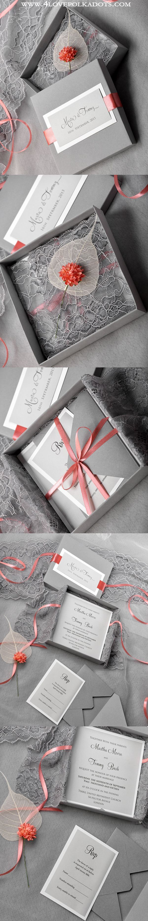 box wedding invitations online%0A Wedding Invitation in a box Grey  u     Lace  weddingideas  vintagewedding   romanticwedding