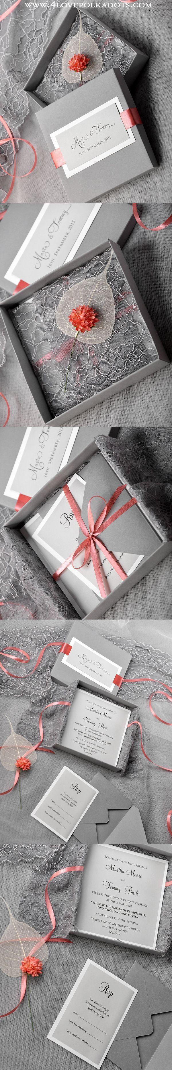 lace wedding invitation wrap%0A Wedding Invitation in a box Grey  u     Lace  weddingideas  vintagewedding   romanticwedding