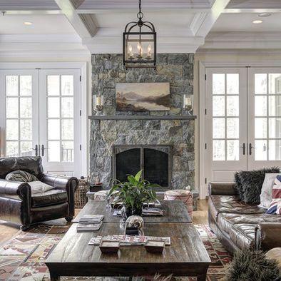 Fireplace In Between Patio Doors Design, Pictures, Remodel, Decor and Ideas - Light Fixture
