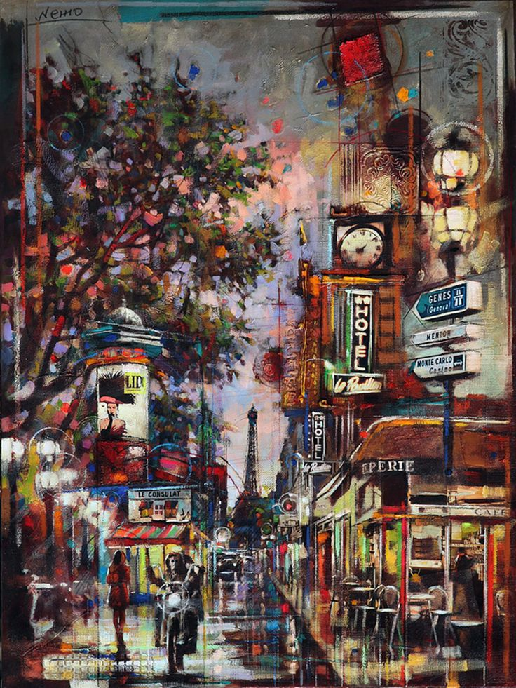 Riding in Paris - original mixed media painting by Victor Nemo at Crescent Hill Gallery