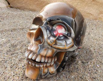 Único pintado a mano con aerógrafo tatuaje cerámica tinta Robot biomecánico México decoración día del cráneo muerto del azúcar hecho a la medida