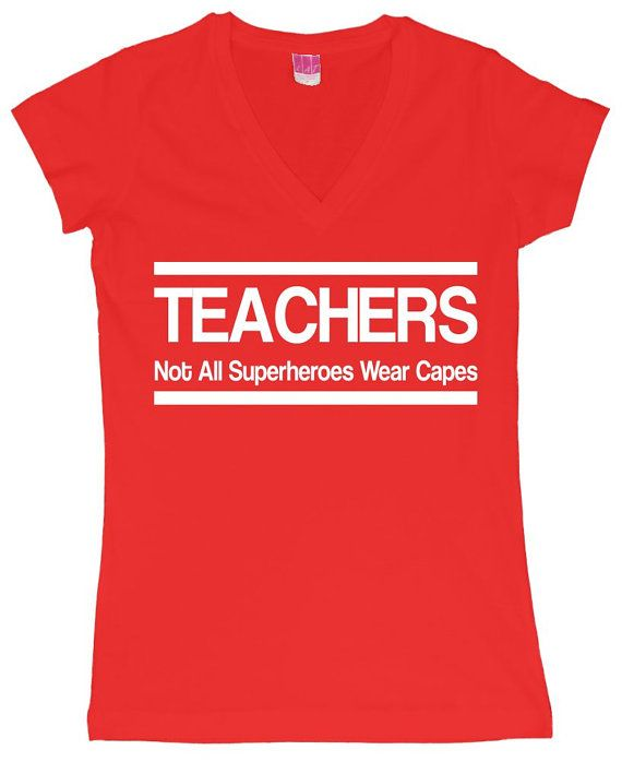Teachers Not all Superheroes Wear Capes Funny Humor  Women's LAT V-Neck T-Shirt