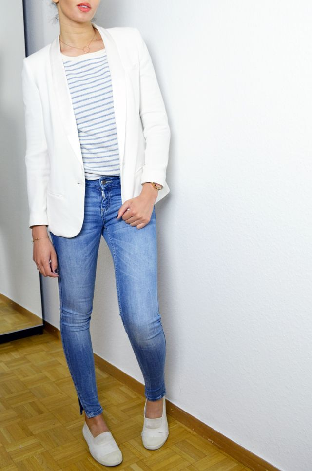 #mercredie #blog #fashion #mode #geneva #geneve #mariniere #stripes #white #blazer #look #inspiration #outfit #lafayette #collection #perfect #slim #skinny #denim #jean #zara #zip #bensimon #white #shoes