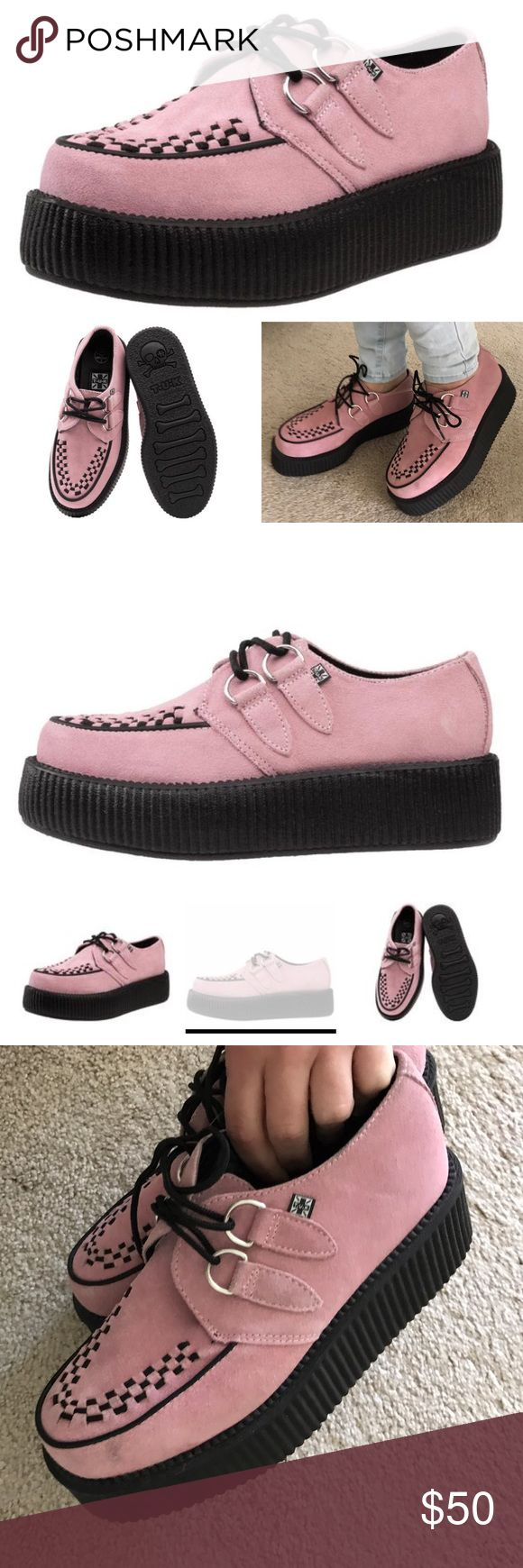 New tuk baby pink suede creepers platform 8 New without tag tuk creeper platform shoes size 6 men's size 8 women's NO TRADES Urban Outfitters Shoes