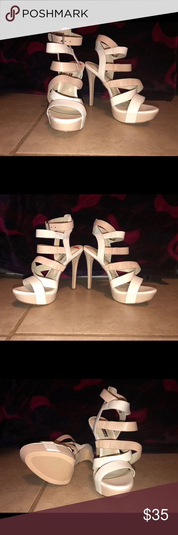Platform white and cream heeled strap sandals BCBG - Brand new and never worn! Platform sandal with white and cream straps. Leather upper and man made some/lining. BCBGeneration Shoes Sandals