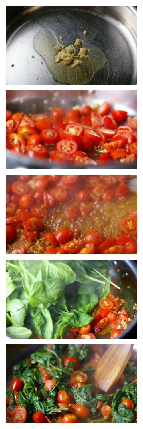 Spinach Tomato Saute - a fantastic summer side dish from the garden | 5DollarDinners.com