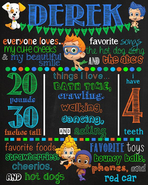Bubble Guppies Birthday Chalkboard Poster by VickiTsCreations
