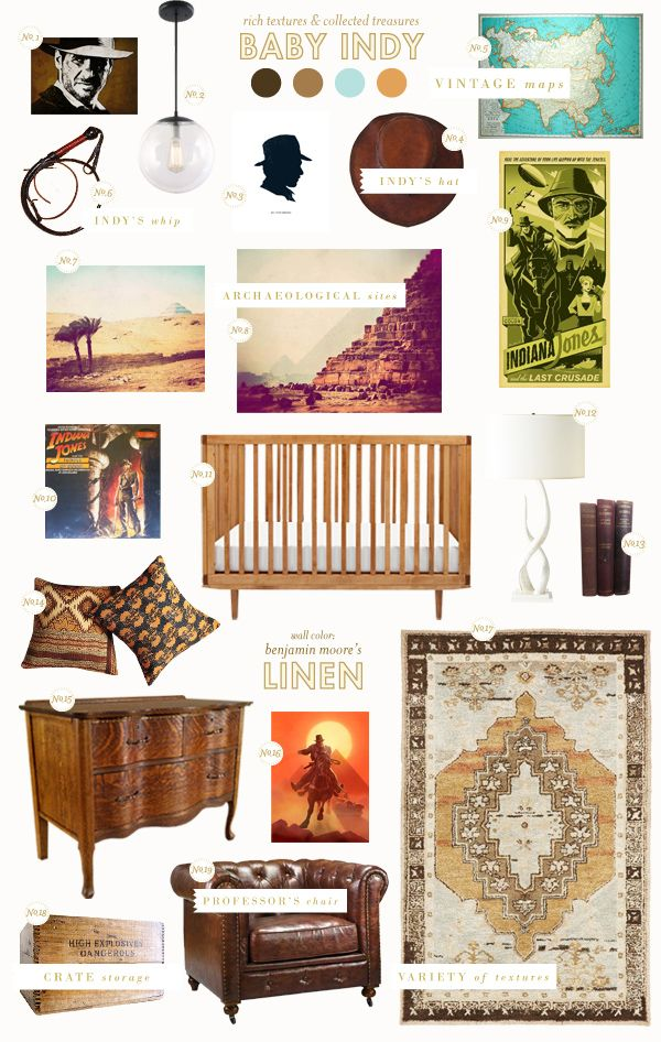 BHG Style Spotter Joni Lay created an Indiana Jones inspired nursery style board! Read more posts here: http://www.bhg.com/blogs/better-homes-and-gardens-style-blog/?socsrc=bhgpin070912