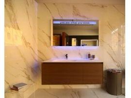 ANTONIO LUPI Panta Rei Mobile bagno in noce visone con specchio con scritta