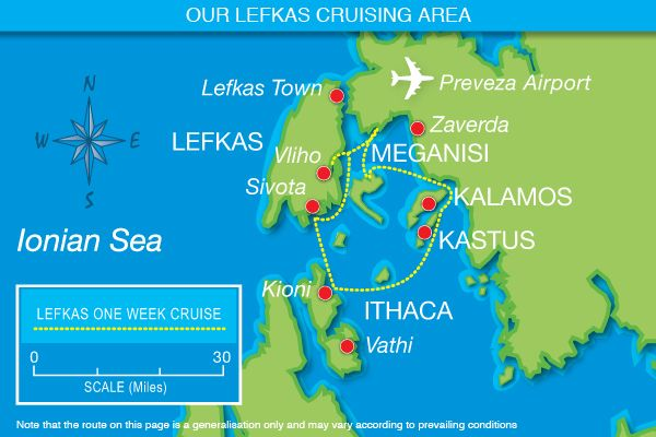 Our one week Lefkas route map visiting the stunning Islands of Ithaca and Meganisi, Kastus and Kalamos...