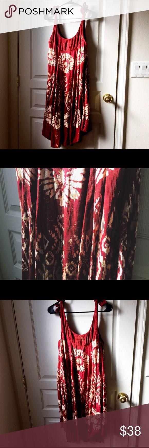 Selling this Free People boho batik shoulder tie midi dress on Poshmark! My username is: wanderlust83. #shopmycloset #poshmark #fashion #shopping #style #forsale #Free People #Dresses & Skirts