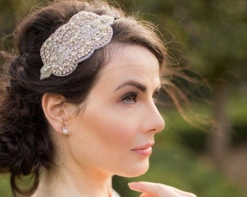 Vintage Side Headpieces - Art Deco Style Appliqué Headband, Cara