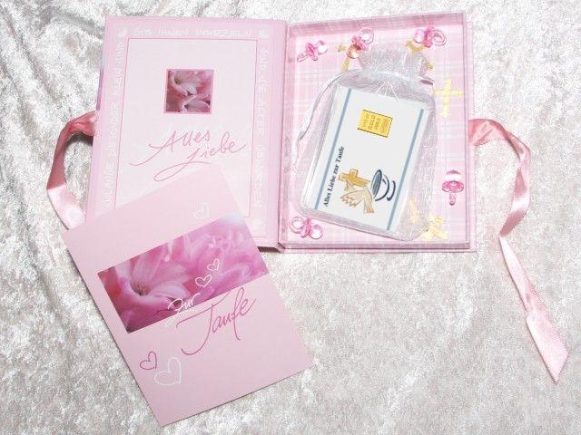 3,1g (1/10 Unze) Gold zur Taufe Mädchen in Geschenkbox dekoriert