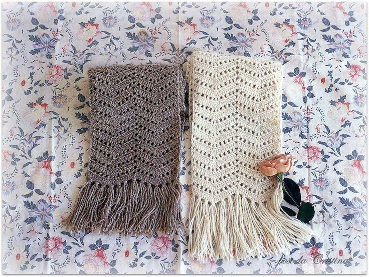 Bufanda / estola en punto zig-zag | Crochet y dos agujas