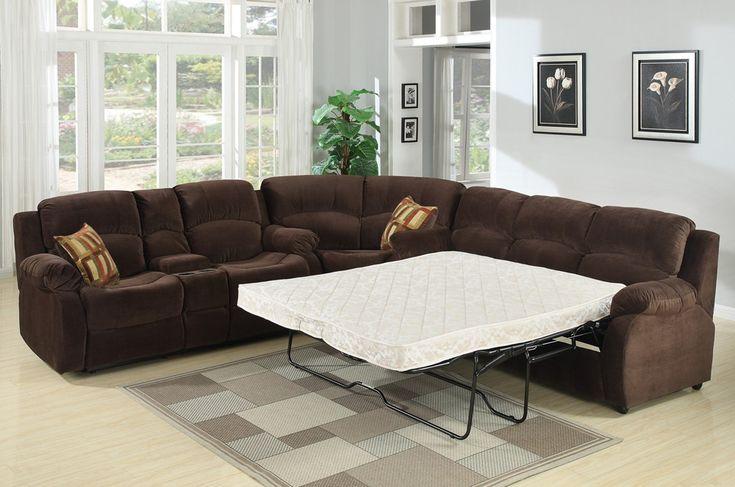 Microfiber Sectional Sleeper Sofa Tracey Recliner