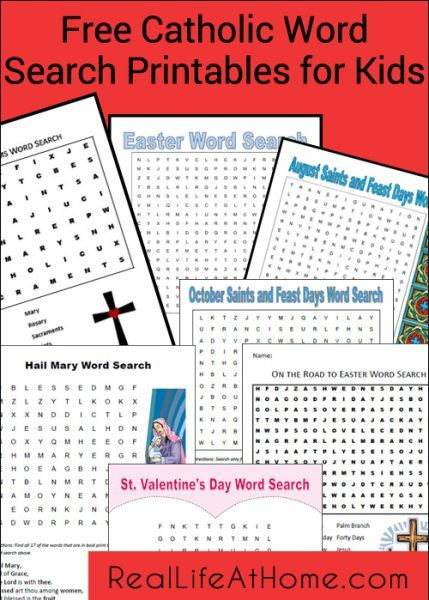 Index of Free Catholic Word Search Printables for Kids