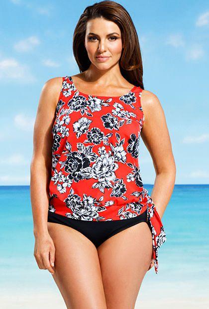 Beach Belle Amaryllis Plus Size Blouson Tankini | Plus ...