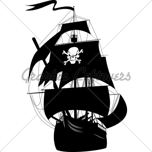 Silhouette Of A Pirate Ship With The Image Of A...