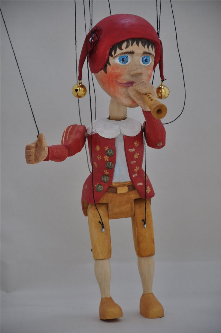 Czech Jester puppet, amrionette, hand carved, basswood 2017