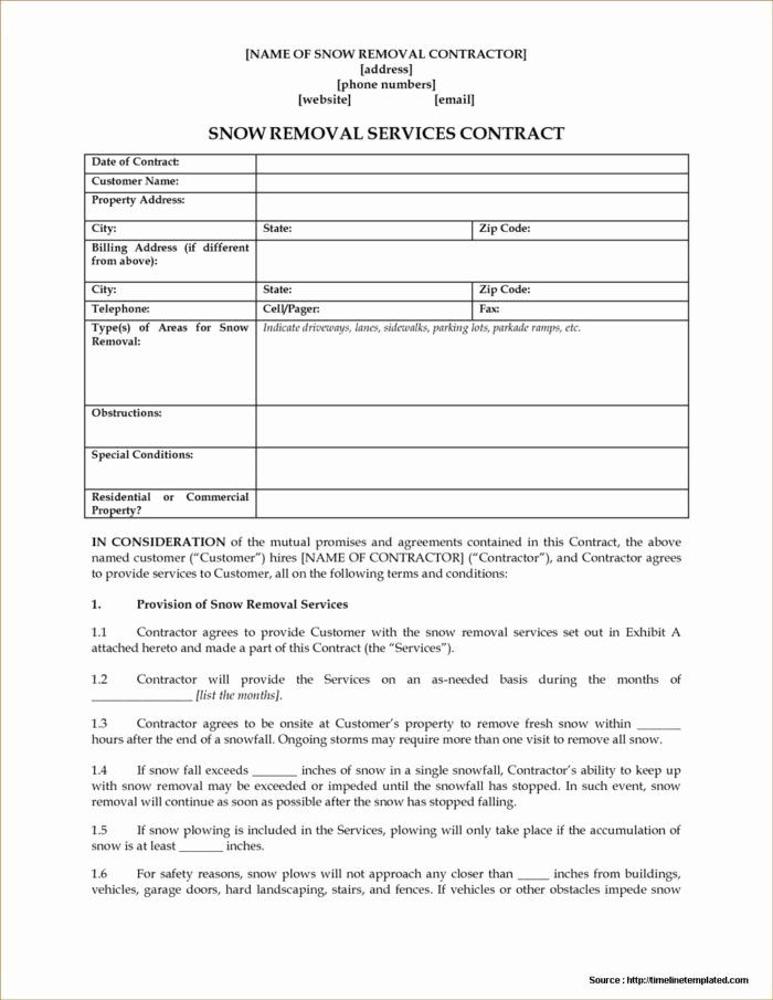 Snow Removal Contracts Template Beautiful Snow Plowing Contract Forms Free Form Resume Examples Snow Removal Contract Contract Template Contract Templates