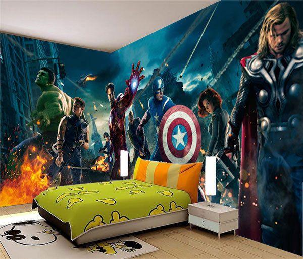 Avengers Marvel Heros Iron Man 3D Full Wall Mural Photo Wallpaper Home Dec Kids