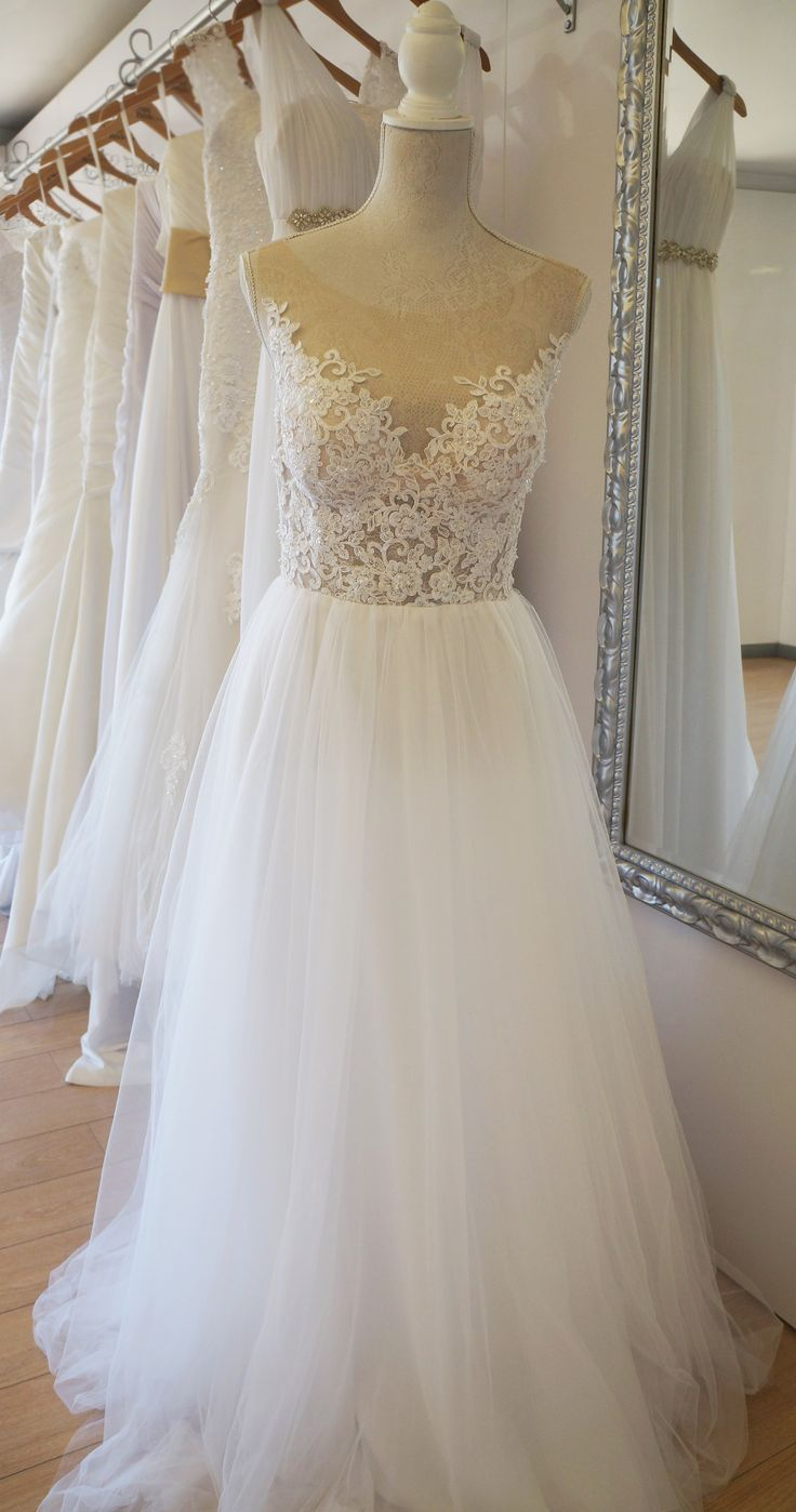 Tulle wedding gown withan elegant illusion styled back. Urban Bride Cape Town.