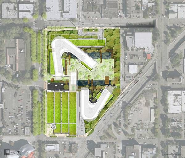 Landscape architecture and green roofs by Gustafson Guthrie Nichol. Architecture by NBBJ. Image credit: GGN.