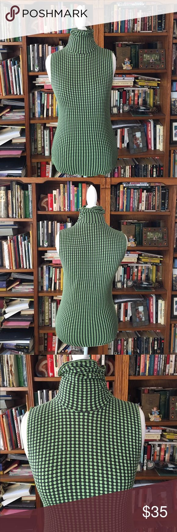 Viscose Wool Blend ARMANI Sleeveless Turtleneck Excellent condition Armani Collezioni Sleeveless Turtleneck top. Shown on size 8 dress form. Zip neck. Color is a dark grey almost black and green Armani Collezioni Tops