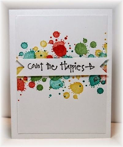 how fun - the background in a variety of colors w the sentiment popped up