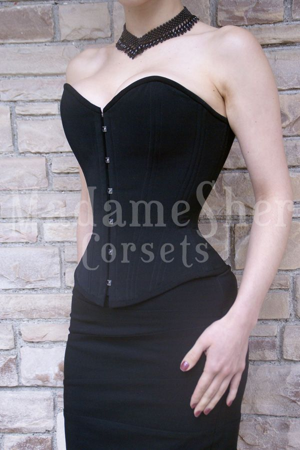 Victorian corset, simple black, elegant lines, works with everything. Madame Sher Corsets » Overbust