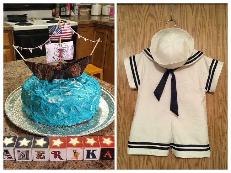 Baby's first birthday nautical theme cake and sailor outfit by Linh Hatzenbuehler